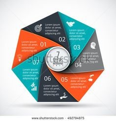 Vector heptagon infographic. Template for cycle diagram, graph, presentation and chart. Business concept with 7 options, parts, steps or processes. Data visualization.