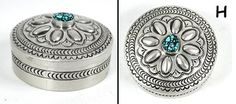 Authentic Native American round sterling silver pill box by Navajo Arnold Blackgoat