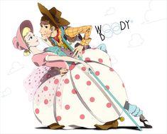 Woody and Bo Peep from Toy Story Disney Pixar, Animation Disney, First Animation, Disney Toys, Disney Fan Art, Disney And Dreamworks, Animation Film, Disney Magic, Disney Stuff