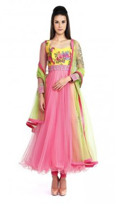 Buy Anushree Reddy's Pink and Yellow Floral Anarkali Online - Jiva