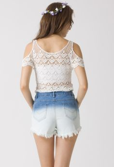 Crochet Cut Off Top - Retro White and Nude Collection - Tops - Retro, Indie and Unique Fashion