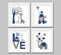 Caleb's nursery: Navy and grey Nursery Art Print Set, 8x10, Kids Room Decor, Baby/Children Wall Art - Giraffe, elephant, tree, balloons via Etsy