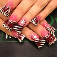 Crazy awesome pink brown & black animal print nails with jewels art Sparkle Nail Designs, Crazy Nail Designs, Black Nail Designs, Sparkle Nails, Crazy Nails, Trendy Nail Art, Nail Games, Super Nails, Fabulous Nails