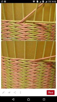 Discover thousands of images about prútia papier DIY Paper Basket Weaving, Willow Weaving, Weaving Art, Weaving Patterns, Loom Weaving, Weaving Projects, Newspaper Basket, Newspaper Crafts, Peg Loom