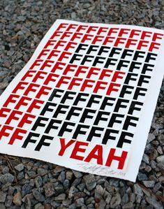 F Yeah Typographic Print by themattbutler on Etsy, $25.00