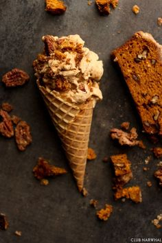 Pumpkin Bread Ice Cream with Candied Pecans