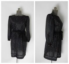 1970s Black Sheer Set Skirt Blouse Two Piece by rileybella123, $28.00