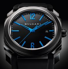 "For 2017 Bulgari releases three new Octo Ultranero ""ultra black"" DLC-coated models. One with blue hands and markers, one with red highlights and a totally blacked out model."