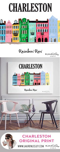 Charleston Rainbow Row Print Artwork Framed or Canvas by LaurenLPoole on Etsy.  Printables also available - makes a colorful, cute print or wall art. Beach Printable | Wall Art | Charleston South Carolina | Print for Living Room | Artwork for Living Room | DIY Print | Cheap Downloadable Art | Colorful Illustration