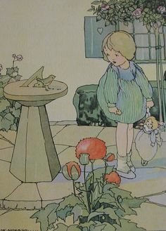 ANNE ANDERSON Vintage Children's Print - Young Girl & Doll - Robin - Sun Dial…