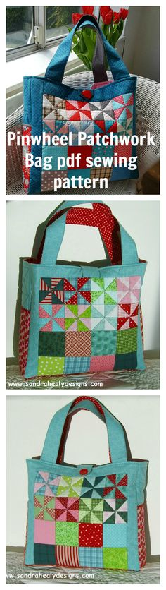 """Pinwheel Patchwork Bag Instant PDF Download. This listing is for a digital pdf pattern to make a beautiful patchwork tote bag which will be enjoyed for years to come! The finished bag measures approx. 14"""" high x 15"""" wide x 4"""" deep."""