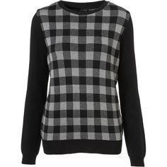 Knitted Check Jacquard Jumper ($72) via Polyvore