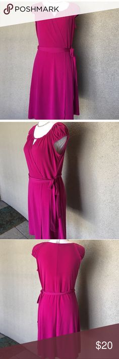 Laundry by Design fuchsia Dress Vibrant fuchsia stretchy dress. Round neck and faux wrap skirt with attached fabric belt. Excellent Condition Laundry by Design Dresses