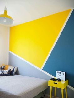Beautiful Wall Painting Ideas for Living Room, Bedroom, and Kitchen - Wandgestaltung Bedroom Wall Designs, Bedroom Decor, Bedroom Ideas, Accent Wall Designs, Wood Bedroom, Geometric Wall Paint, Geometric Painting, Geometric Shapes, Modern Wall Paint
