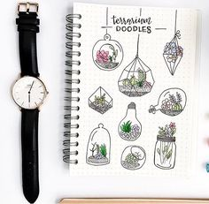 Pretty terrarium doodles by @study.duoo use 'plantdoodles' for 10% off at @notebook_therapy #plantdoodles