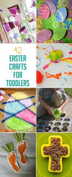 42 Easter crafts for toddlers to make - including Easter eggs, bunnies, sheep, chicks and crosses via @handsonaswegrow