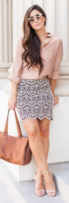 Sophisticated Lace Skirt Everyday Girly Fall Inspo by The Darling Detail