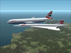 FS2002 British formation (777 and Concorde)