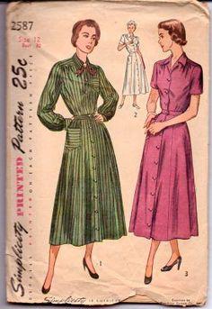 Simplicity 2587 - 1940's ladies dress pattern. Pattern is cut & complete