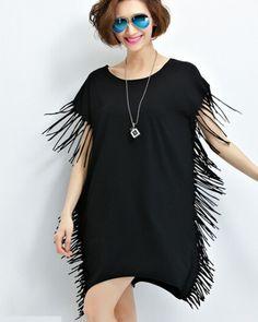 Fashion fringe t shirt dress for women plain long t shirts