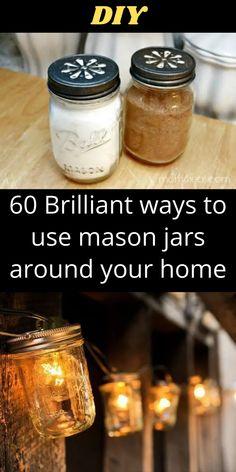 Mason Jar Projects, Mason Jar Crafts, Mason Jar Diy, Diy Projects, Simple Life Hacks, Useful Life Hacks, Jar Lights, Diy Hacks, Diy Art