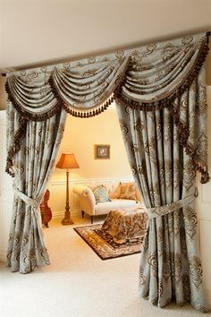 Bleu Fleur De Lis curtain set with swag and tails. Curtains Living Room, Elegant Curtains, Drapes Curtains, Curtains, Valance Curtains, Contemporary Curtains, Curtain Decor, Curtain Designs, Classic Curtains