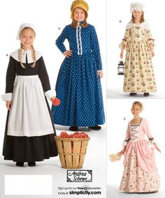 Amish DRESS APRON Bonnet Sewing Pattern - Little House on the Prairie Puritan Colonial Costume