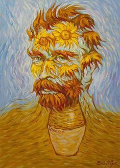 sunflowers van gogh self portrait art Van Gogh Self Portrait, L'art Du Portrait, Optical Illusion Paintings, Optical Illusions, Van Gogh Tapete, Van Gogh Wallpaper, Van Gogh Pinturas, Art Visionnaire, Van Gogh Sunflowers