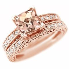 Peach pink morganite diamond matching engagement ring set 14k rose gold vintage