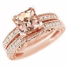 Pink Peach Morganite Diamond Ring ✿⊱╮