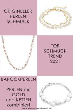 Die klassische Perle passt immer. Seid ihr unsicher, welchen Schmuck ihr bei einem Anlass tragen sollt, wählt einen mit Perlen. Jedoch bekommen diese 2021 ein Update. Angesagt sind originelle Perlen Schmuckstücke aus Barockperlen, Perlen in Kombination mit Gold oder rustikalen Kettendetails. #schmuck #perlen #pearls #jewlery #schmucktrend #trend #2021 German Fashion, Dog Tag Necklace, Jewelery, Blog, Beauty, Inspiration, Pearl Jewelry, Deutsch, Necklaces