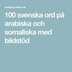 100 svenska ord på arabiska och somaliska med bildstöd Teaching, Education, Montessori, Countries, Inspiration, Languages, Communication, Biblical Inspiration, Learning