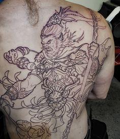 Monkey King King Tattoos, Old Tattoos, Tatoos, Japanese Monkey, Japanese Art, Monkey Tattoos, Asian Tattoos, Monkey King, Back Tattoo