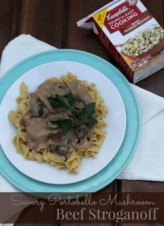 Savory Portobello Mushroom Beef Stroganoff Recipe #WeekNightHero #ad Stroganoff Recipe, Beef Stroganoff, Yummy Food, Delicious Recipes, Easy Recipes, Tasty, My Favorite Food, Favorite Recipes, Portobello