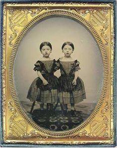 Civil War era twins dressed alike, 1/2 plate ambrotype, sweet photo