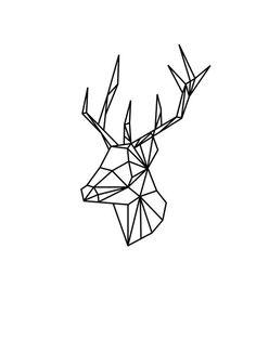 Origami Deer Print, Stag Print, Origami Deer Wall Art, Stag Wall Art, Animal…: