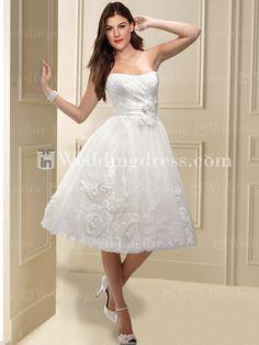 $239 Tea-Length Wedding Dresses with Flower