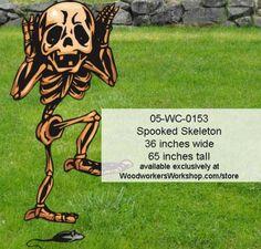 05-WC-0153 - Spooked Skeleton Yard Art Halloween Woodworking Pattern