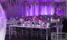 """"""" from - What do you think of this glorious head table decor for an Avatar-inspired Bat Mitzvah? Floral centerpieces glowing amidst this epic room decor 😍💜✨💜✨💜✨💜✨💜✨ ⏺Decor by ⏺Planning by ⏺Venue ⏺Photography by Henry Lin by Glowing Flowers, Head Table Decor, Meeting Planner, Event Company, Event Marketing, Floral Centerpieces, Bat Mitzvah, Event Decor, Corporate Events"""