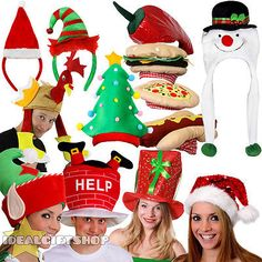 20cd85364bb ADULTS CHRISTMAS HATS PRESENTS STOCKING FILLERS FANCY DRESS FUNNY XMAS  PARTY