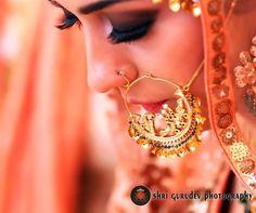 Wedding Nath - Beautiful Intricate Gold Nath | WedMeGood #nath #wedmegood #bridal #indianbride #indianwedding #gold #intricate
