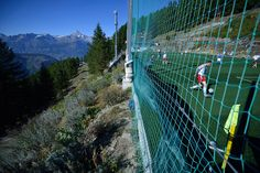 Gspon, Switzerland is home to the highest football pitch in all of Europe, and the only place on the continent where the boys chasing the balls must be at least as fit as the men kicking them.