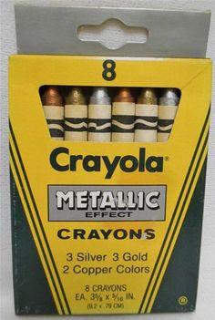 Rare Vintage NOS 1987 Crayola Metallic Effect Crayons 8ct Discontinued Unused
