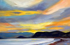 Puget Sound Sunset - painting by Nancy Merkle nancy-merkle.artistwebsites.com #pugetsound #sunset #landscape