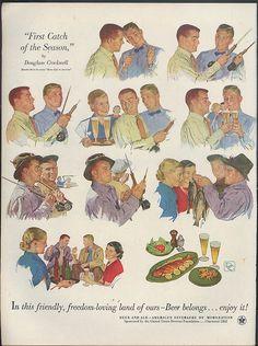 First Catch of the Season fishing scenes Douglass Crockwell Beer Belongs ad 1953