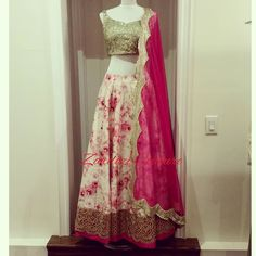nice vancouver wedding I heard #florals are here to stay!!!! Just arrived is this raw silk floral lengha with a sequins blouse and a Anushree Reddy inspired dupatta. Located in Brampton Please call or whatsapp for any inquiries. 4169102592 by @zardozi_couture  #vancouverwedding #vancouverwedding