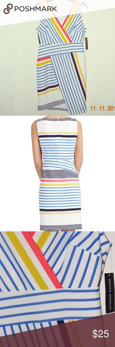 """Donna Morgan Women's Stripe Scuba Body-Con Dress Mixed stripes in varying colors deliver eye-catching interest to a trend-right body-con dress styled with a flirty asymmetrical hem and topped with a sultry surplice V-neckline. Back zip closure. Surplice V-neck. Sleeveless. Lined. 95% polyester, 5% spandex. Dry clean. By Donna Morgan; imported. NEW WITH TAGS MEASUREMENTS Bust: 33"""". Waist: 28"""". Hip: 34"""". Length: 34"""". ‼️ I offer 5% discount when you buy 2 or more items from my closet. I also…"""