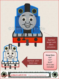 Thomas the train Machine Embroidery Applique by TheCraftyKylie