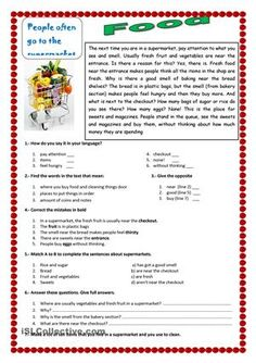 An ESL reading exercise about food in a supermarket - ESL worksheet of the day on April 2015 by Pury. Reading Comprehension Activities, Reading Worksheets, Reading Passages, Printable Worksheets, Comprehension Exercises, Vocabulary Worksheets, English Teaching Materials, Teaching English Grammar, Reading Skills