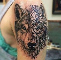 Cool half tribal portrait wolf tattoo.